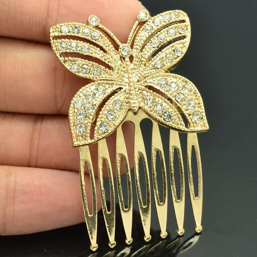 Golden Tone Rhinestone Crystal Butterfly Hair Comb Headband Women Jewelry XBY054