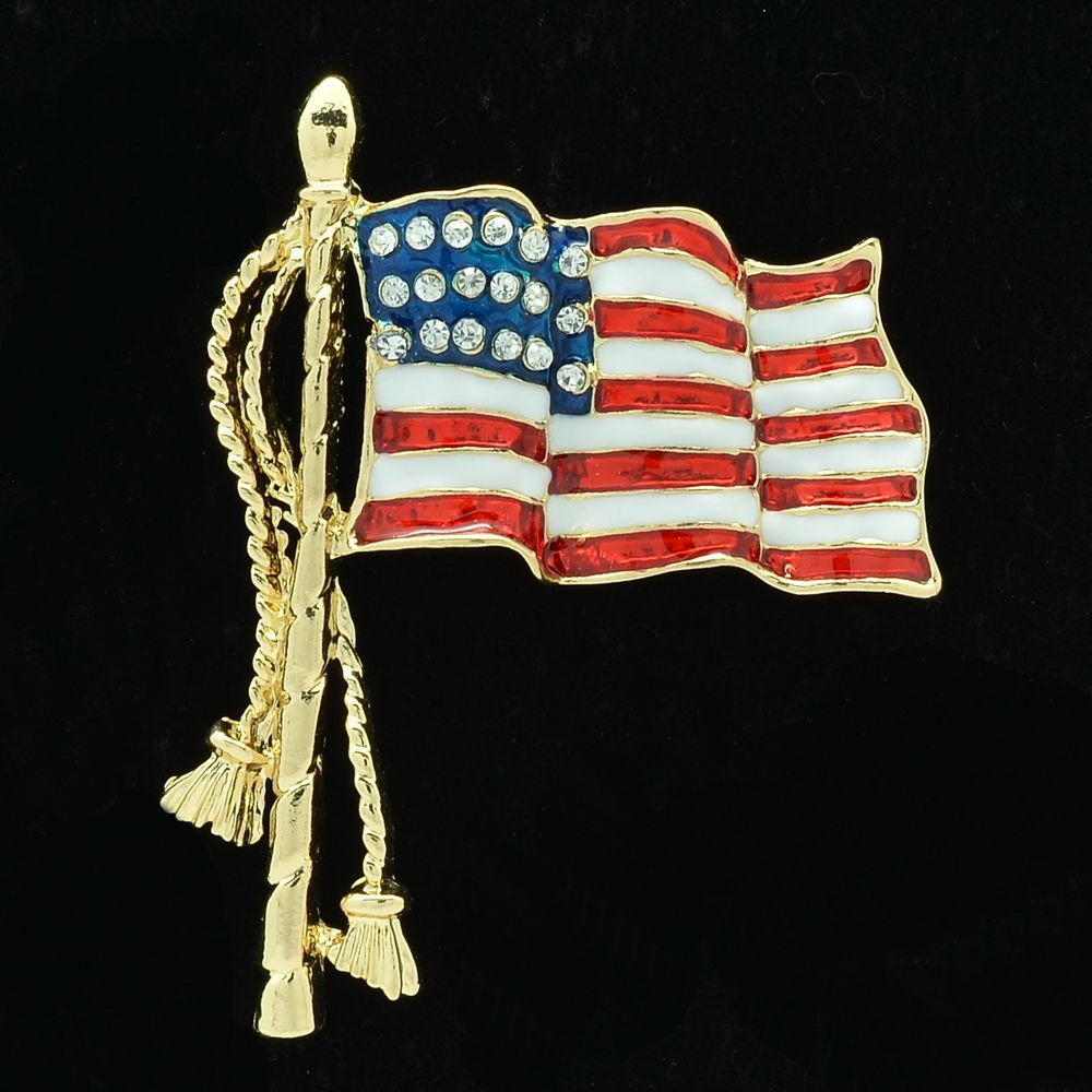 Rhinestone Crystal American Flag Brooch Broach Pins For Independence Day FA3276
