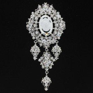 """Clear Rhinestone Crystals Dangle Flower Brooch Broach Pin 5.1"""" Wedding 4516"""