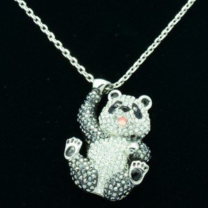 H-Quality Animal Kung Fu Panda Pendants Necklace Clear Swarovski Crystals
