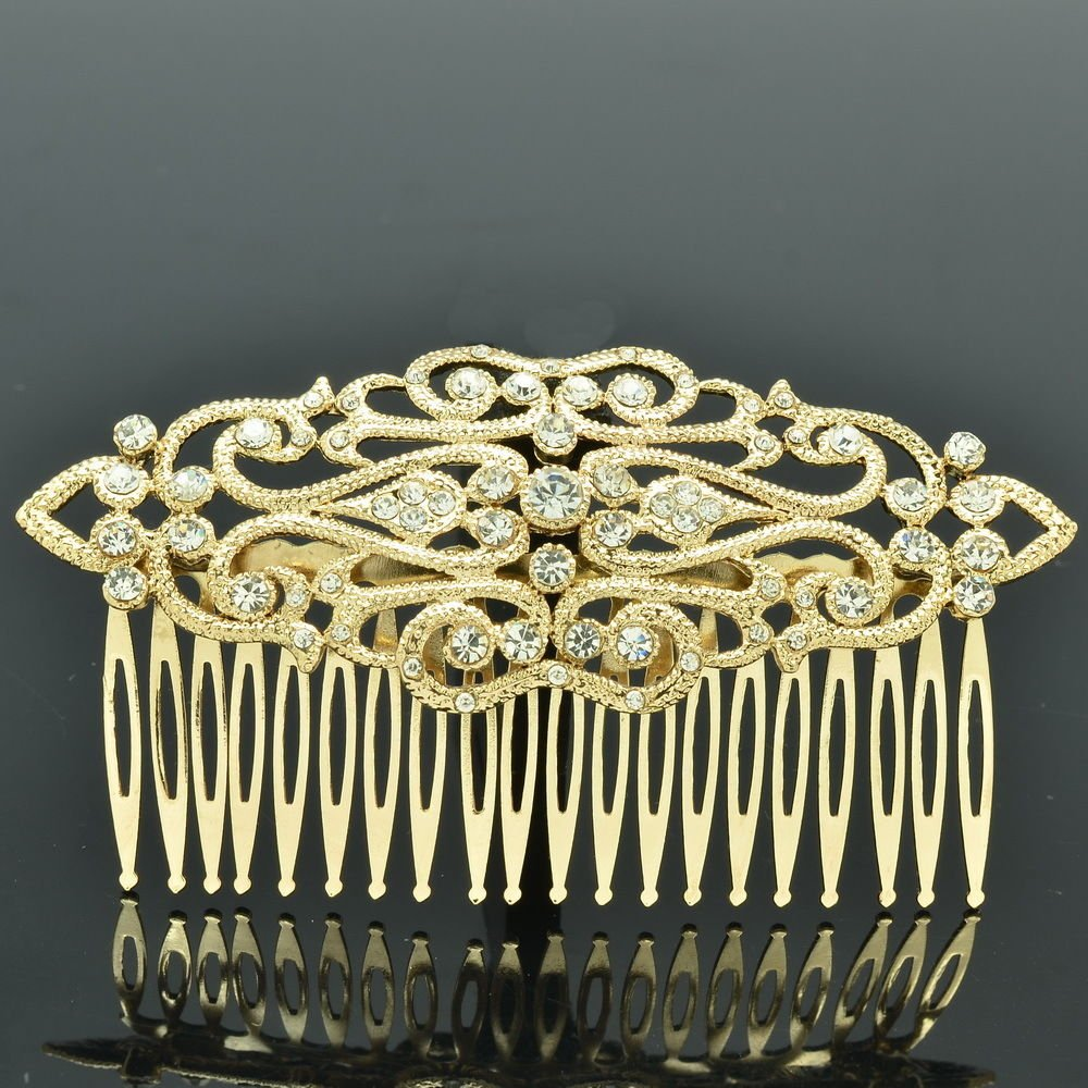 Super VTG Style Golden Rhinestone Crystal Women Palace Hair Comb Headband XBY083