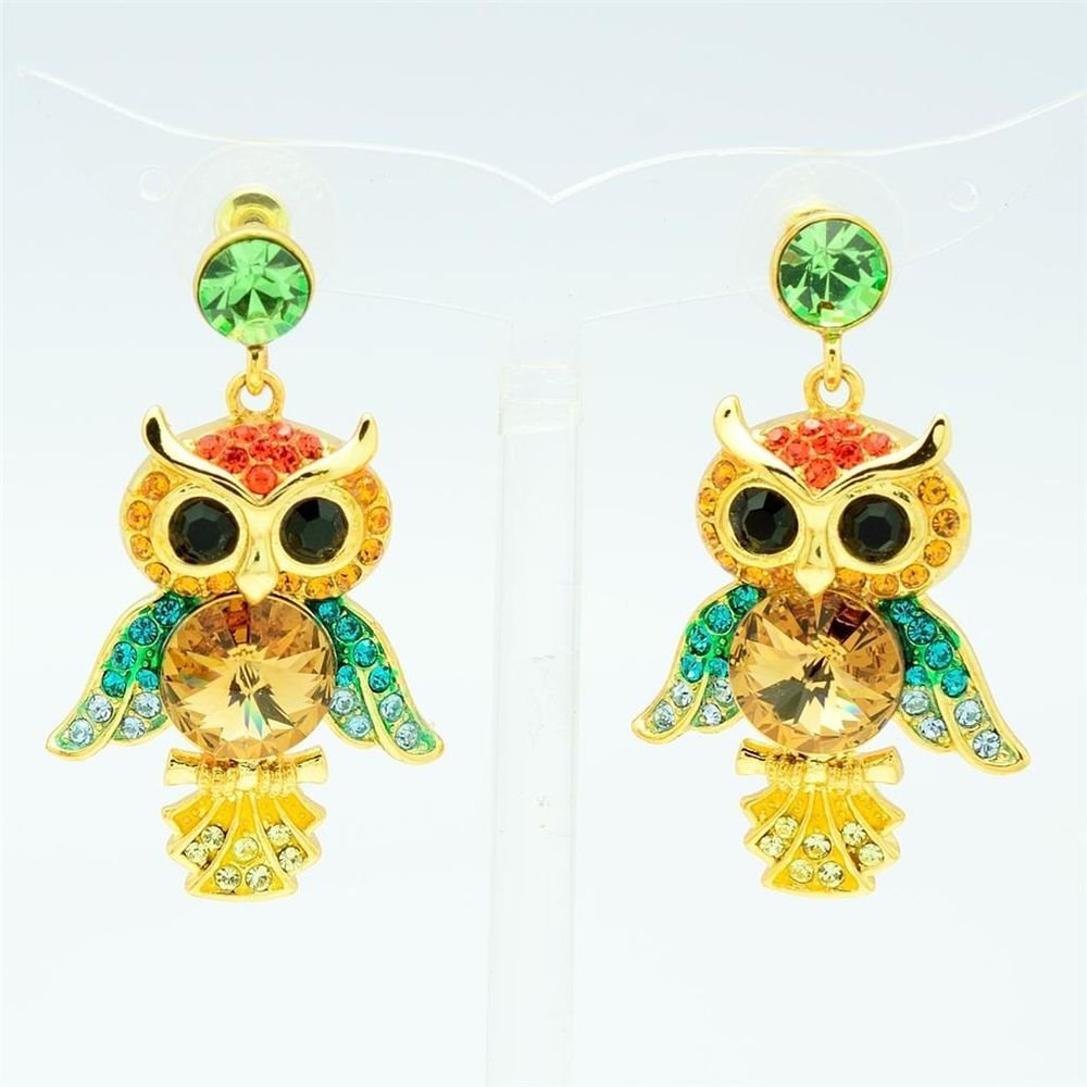 Hi-Quality Multi-Color Swarovski Crystals Animal Owl Pierced Earring w/ SEA0869