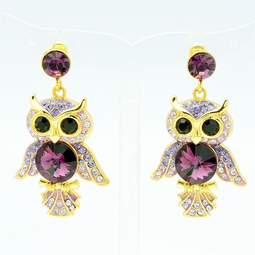 Wonderful Purple Lucky Bird Owl Pierced Earring Dangle Swarovski Crystal SEA0869