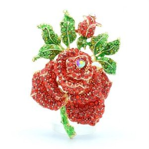 "Vivid Rose Flower Costume Brooch Broach Pins 2.6"" Gold Tone Rhinestone Crystals"