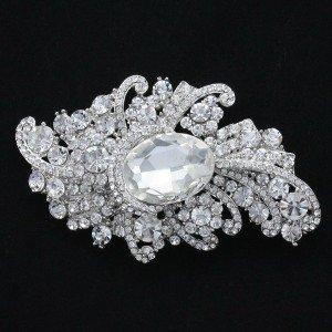"""Rhinestone Crystals Clear Floral Flower Brooch Pin 3.7"""" for Wedding Bridal 4514"""