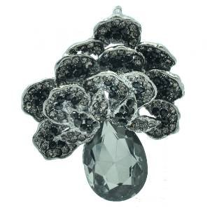 Vintage Black Flower Brooch Pendant Broach Pin W/ Rhinestone Crystals 6175