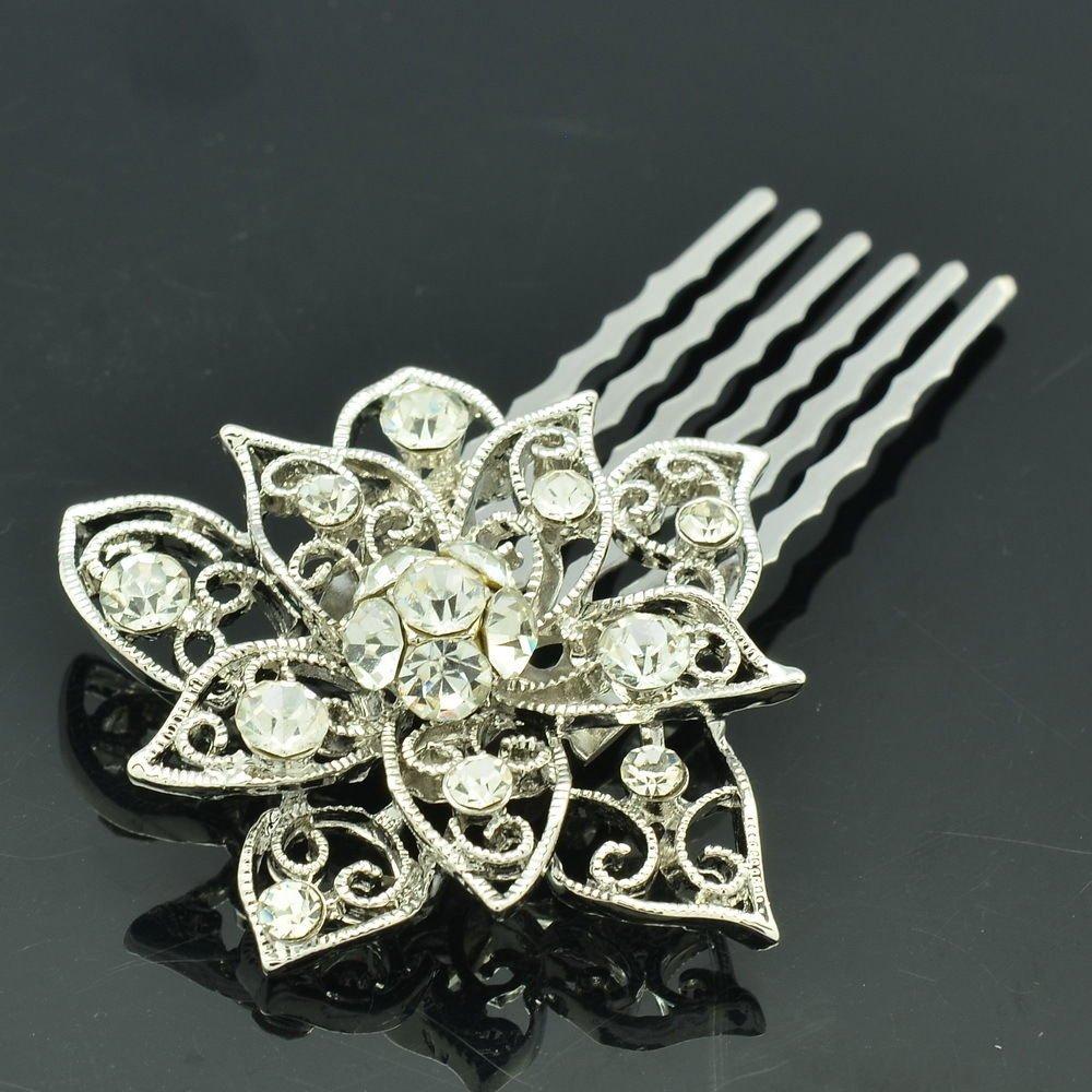 Wedding Bridal Rhinestone Crystal Big Flower Hair Comb Headband For Women XBY035