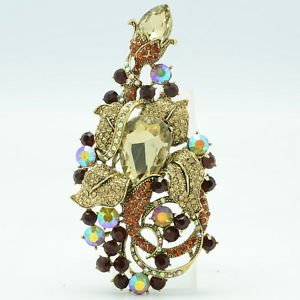 Glaring Brown Flower Brooch Hat Pin Women Party Jewelry Rhinestone Crystals 6406