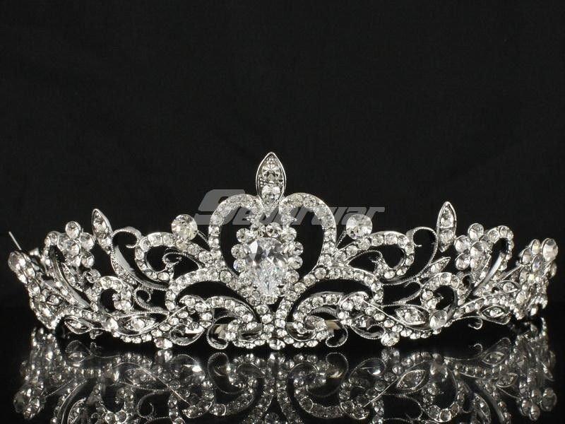 Swarovski Crystal Bridal Bridesmaid Prom Pageant Flower Tiara Crown W/ JHA7762-1