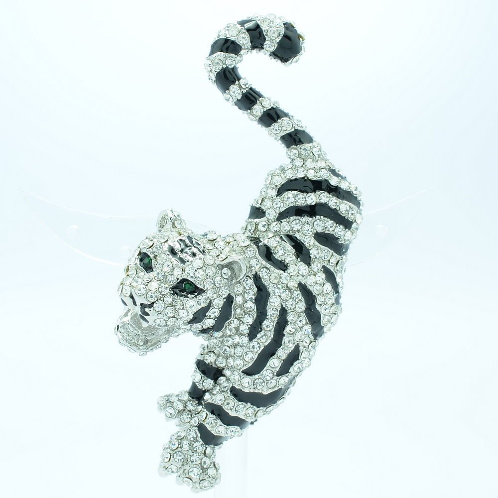 Rhinestone Crystal Animal Clear Tiger Brooch Broach Pin Bridal Jewelry FA3196