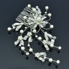 White Imitation Peral Claer Swarovski Crystals Leaf Flower Hair Comb For Wedding