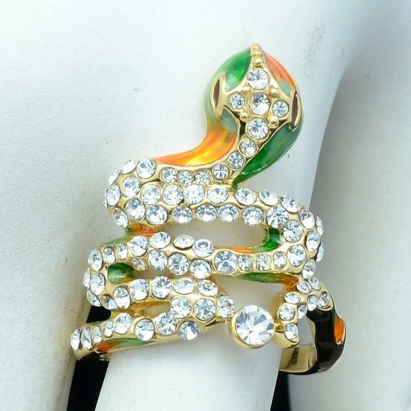 H-Quality Clear Swarovski Crystals Animal Enamel Cobra Snake Cocktail Ring 7#