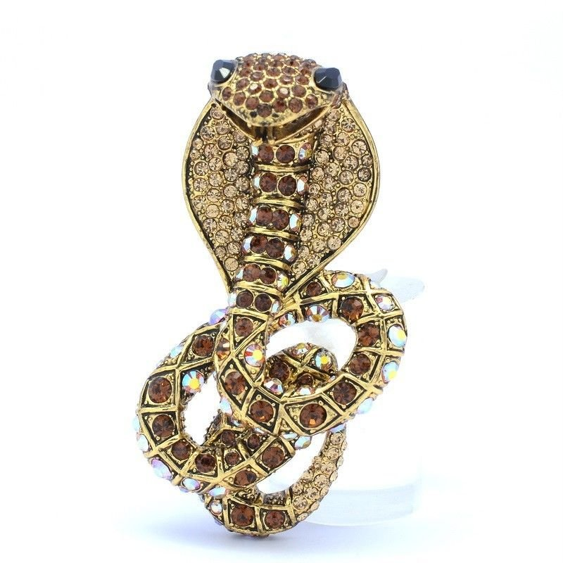 Vintage Cobra Snake Brooch Broach Pins For Wome W/ Brown Swarovski Crystals 3.1""