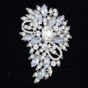 "Nice Jewelry for Bridesmaid Clear Flower Brooch Pin Rhinestone Crystal 3.3"" 4080"