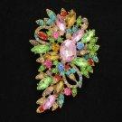 "Cute Rhinestone Crystals Multicolor Flower Brooch Pin 3.3"" Jewelry"