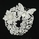 Briadal Garland Butterfly Flower Brooch Pendant clear Rhinestone Crystal 4489