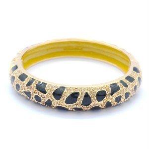 High Quality Enamel Leopard Grain Bracelet Bangle W/ Topaz Swarovski Crystals