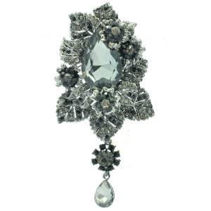 Women Rhinestone Crystal Chic Black Flower Leaves Brooch Broach Pin Pendant 6176