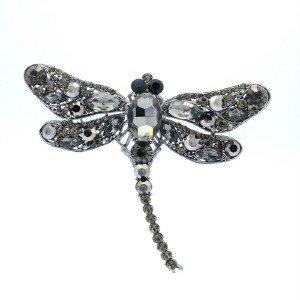 """Trendy Animal Black Dragonfly Brooch Pin 3.7"""" w/ Rhinestone Crystals"""