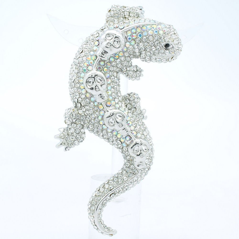 Skull Lizard Gecko Brooch Broach Pin w/ Clear Rhinestone Crystals FA3173