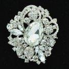Flower W/edding Bridal Brooch Broach Pin Clear Rhinestone Crystal Drop 6173