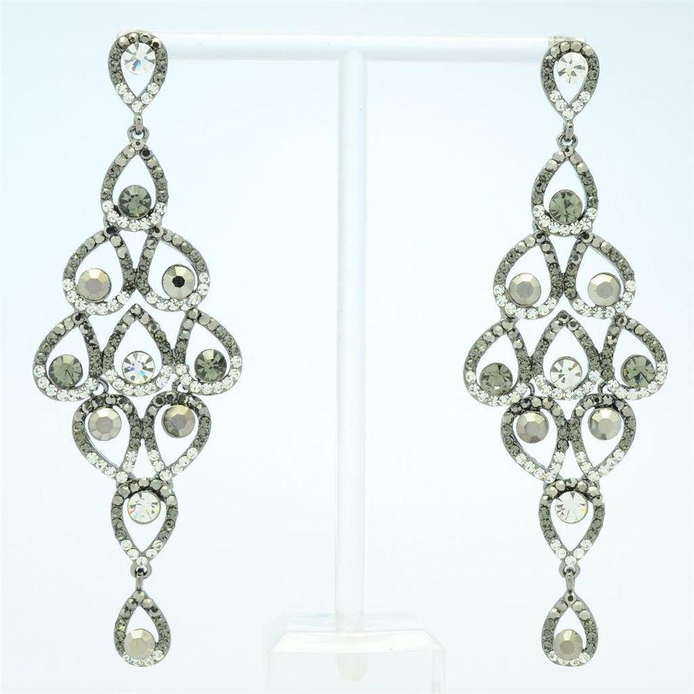 Fashion Black Flower Pierced Earring Rhinestone Crystals Teardrop Dangle Jewelry