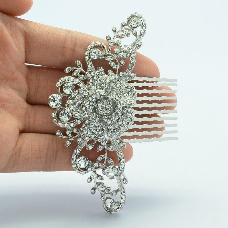 Exquisite Clear Flower Hair Comb Bridal Wedding Women Rhinestone Crystals FA2939