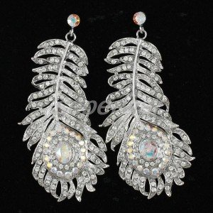 Rhinestone Crystal Clear Peacock Feather Dangle Earring Pierced Bridal Jewelry