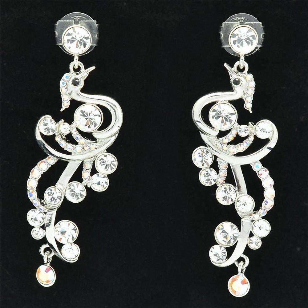 Chic Clear Peafowl Peacock Pierced Earring Swarovski Crystals Silver Tone SE0856