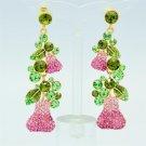 Vogue Pink Pear Pierced Earring High Quality Swarovski Crystals Dangle SEA0873-1