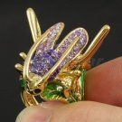 Purple Swarovski Crystal Enamel Bug Cricket Cocktail Ring Size 6# Women Jewelry