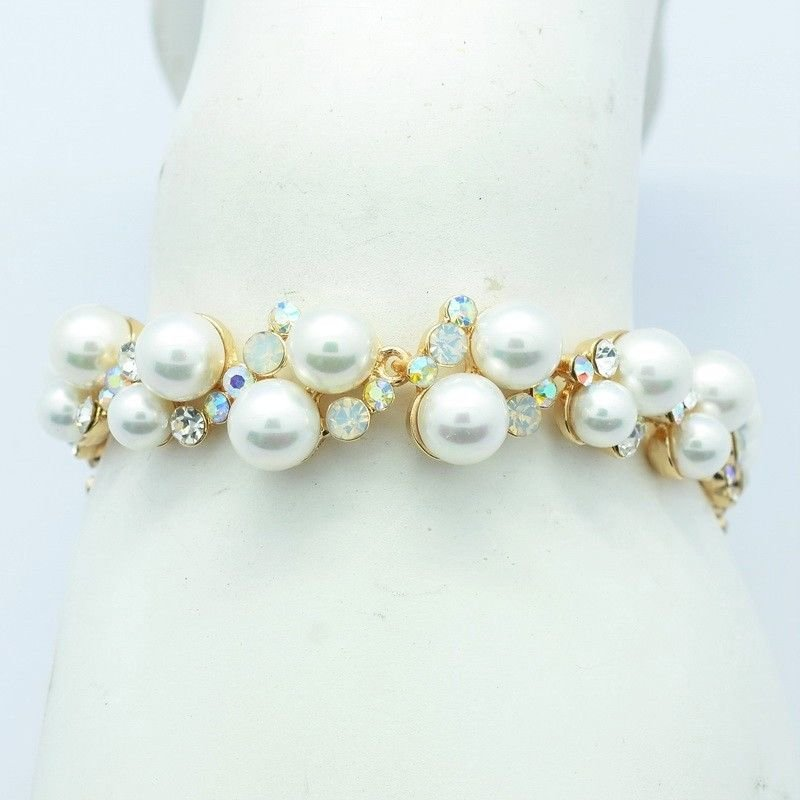 Charming Bridal Faux Pearl Clear Flower Bracelet Chain Rhinestone Crystals 8592X