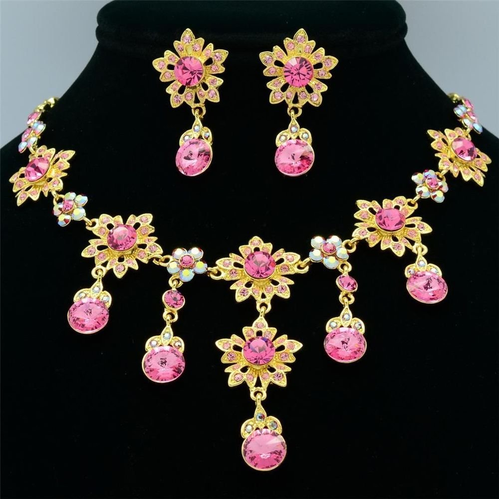 Gorgeous Pink Flower Necklace Earring Set Round Swarovski Crystal Art Deco 2726A