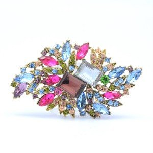 Trendy Multicolor Flower Brooch Broach Pin w/ Rhinestone Crystals 4079