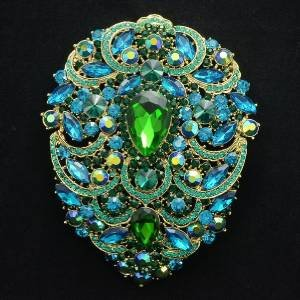 Green Rhinestone Crystals Big Flower Tear Drop Brooch Broach Pin 4.9""