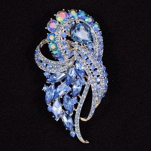 """Pretty Sapphire Flower Brooch Broach Pin 3.5"""" w/ Rhinestone Crystals 4243"""