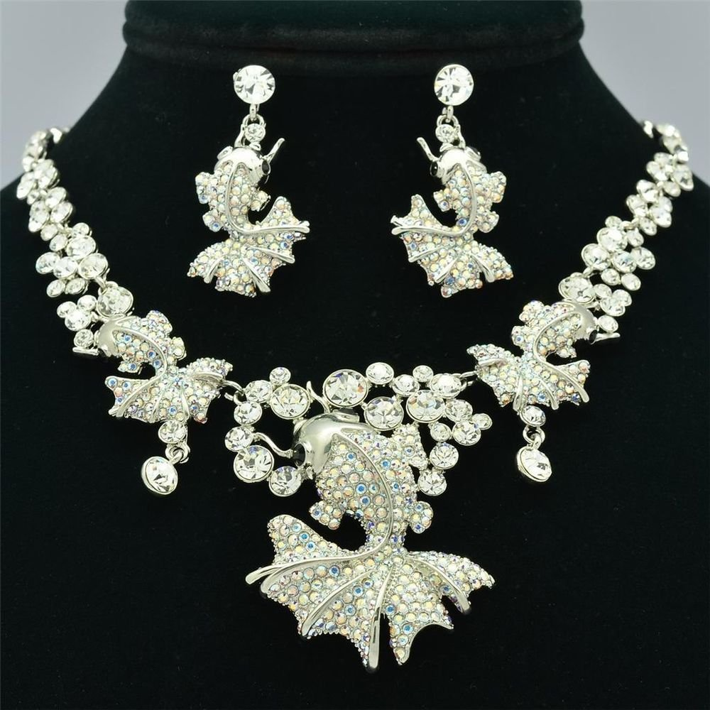 High Quality Clear Swarovski Crystal Gold Fish Goldfish Necklace Earring Set