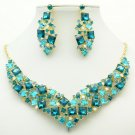 Gift Necklace Earring Set Rhinestone Crystals Women's Accessories Jewelry 6696