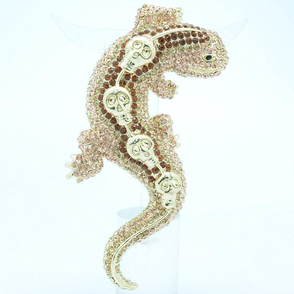 Cute Lizard Gecko Brooch Broach Pin Women Brown Rhinestone Crystals Skull FA3173