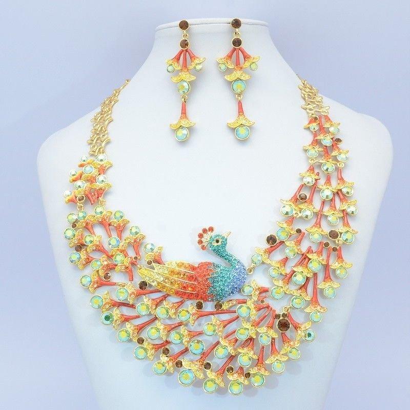Gorgeo Swarovski Crystals Animal Multicolor Peafowl Peacock Necklace Earring Set
