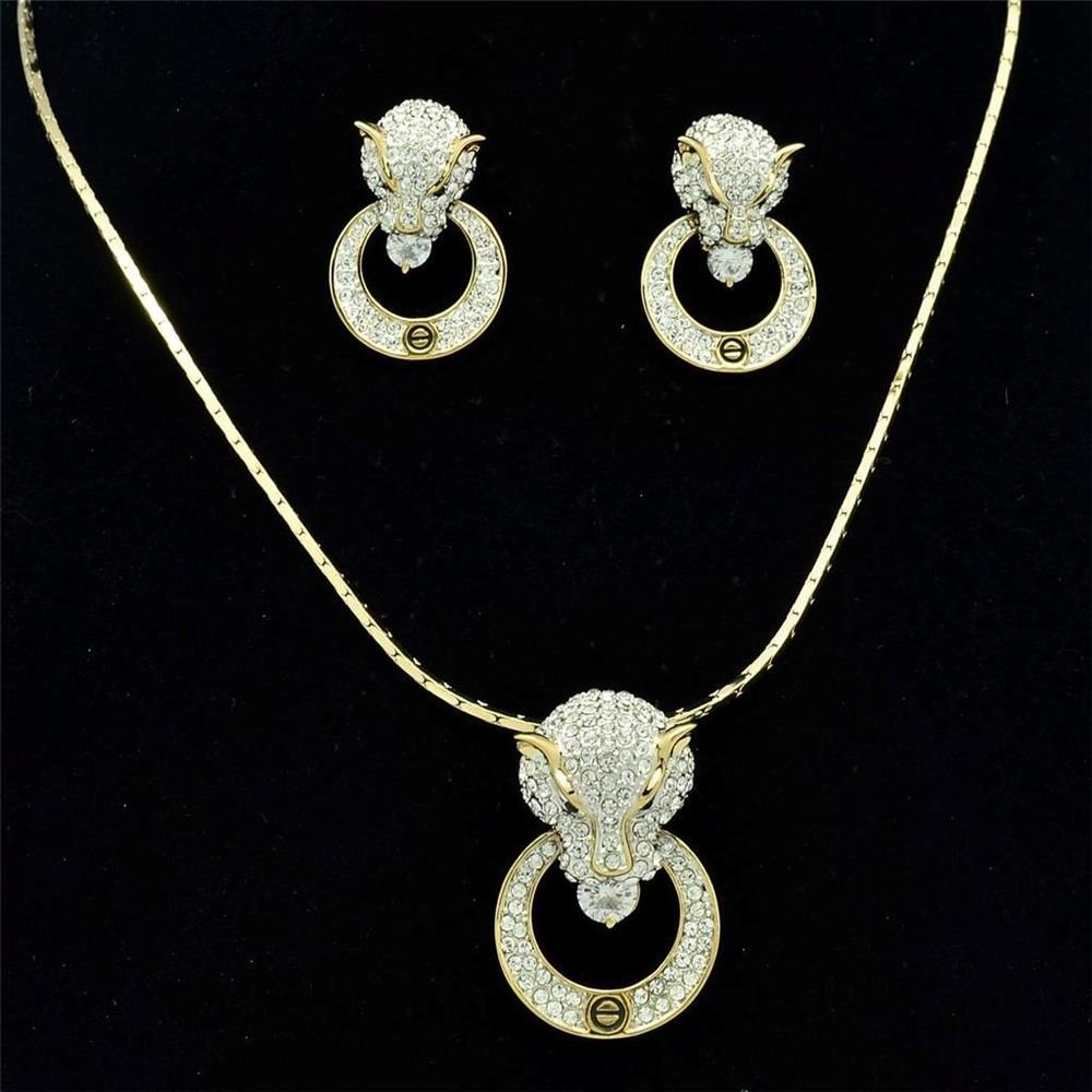 New Gold Leopard Panther Head  Loop Necklace Earring Set Swarovski Crystals