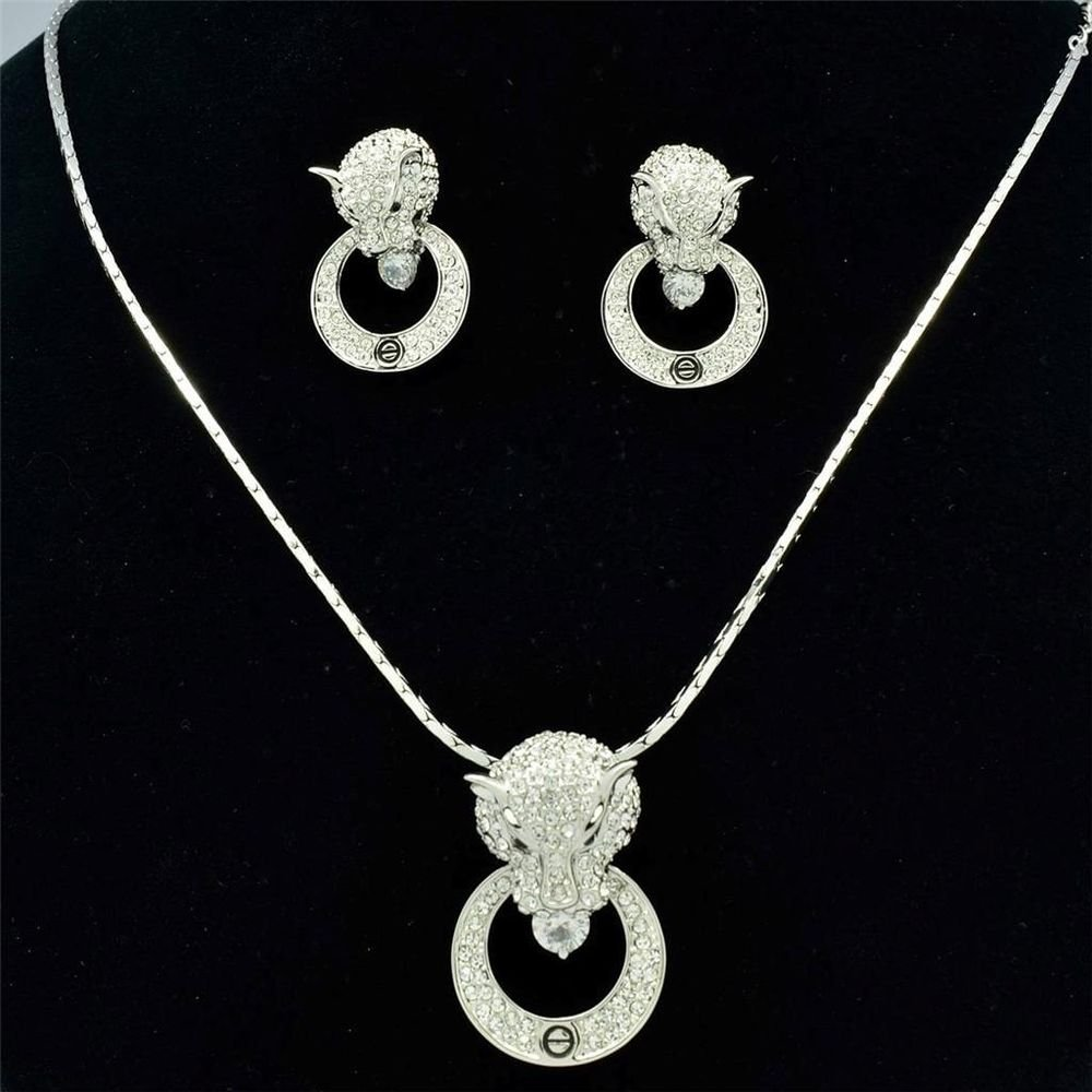 New Leopard Panther Head Loop Necklace Earring Set Swarovski Crystals