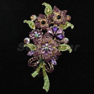 "Vintage Flower Bouquet Pin Brooch Rhinestone Crystal 4.5"" Purple"
