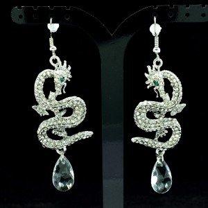 Dangle Dragon Pierced  Earring Clear Rhinestone Crystals