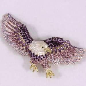 Flying Bird Hawk Eagle Brooch Pin Purple Rhinestone Crystal 4717