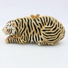 Luxury Animal Gold Tone Tiger Clutch Evening Bag Handbag w/ Swarovski Crystals