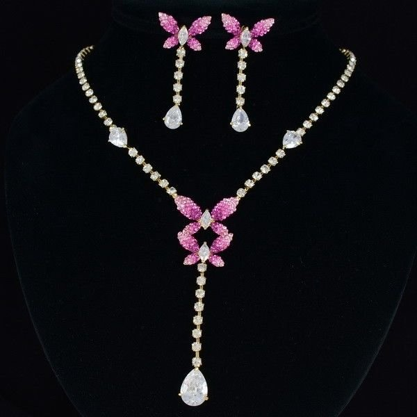 Swarovski Crystal Pink Scalewing Butterfly Necklace Earring Set Zircon Jewelry