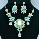 Women Prom Jewelry Turquoise Flower Necklace Earring Set Rhinestone Crystal 8401