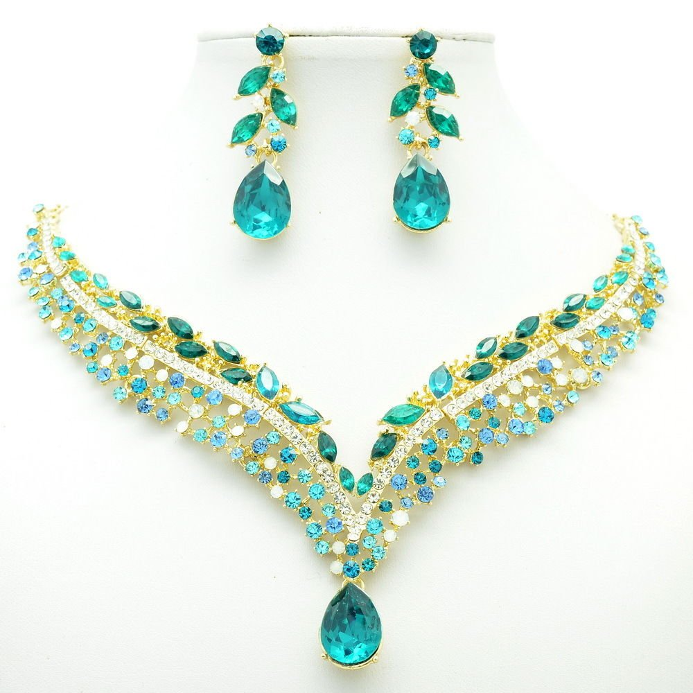 New Design Blue Tear Drop Flower Necklace Earring Set Rhinestone Crystals 6116