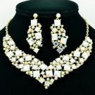 New Gift Necklace Earring Set Rhinestone Crystal Women Accessories Jewelry 6696